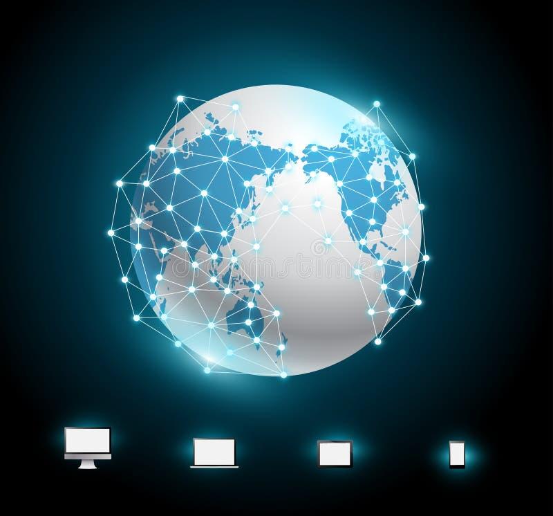 Διανυσματικό σχέδιο δικτύων συνδέσεων σφαιρών διανυσματική απεικόνιση