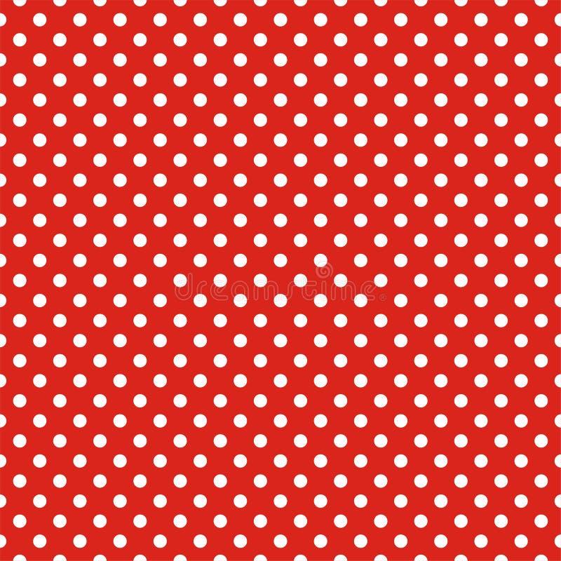 Διανυσματικό σχέδιο κεραμιδιών με τα άσπρα σημεία Πόλκα στο κόκκινο υπόβαθρο διανυσματική απεικόνιση