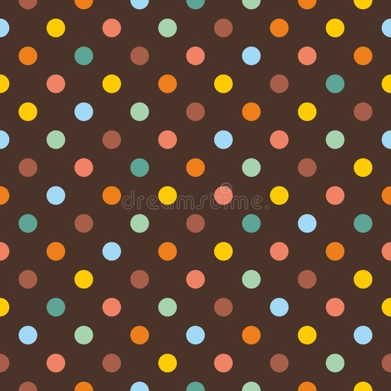 Διανυσματικό σχέδιο κεραμιδιών με τα ζωηρόχρωμα σημεία Πόλκα στο σκοτεινό καφετί υπόβαθρο ελεύθερη απεικόνιση δικαιώματος