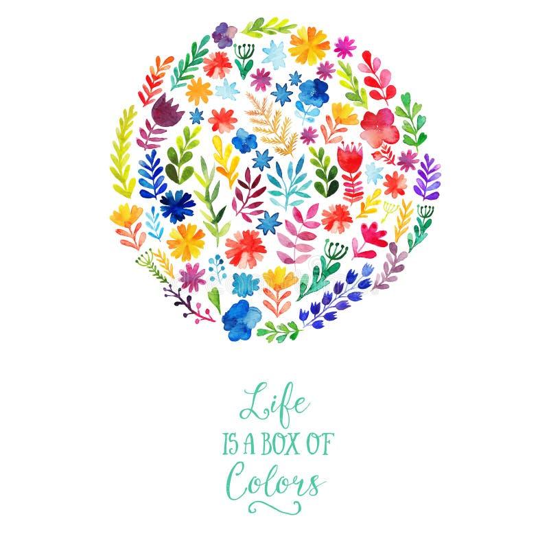 Διανυσματικό σχέδιο κύκλων watercolor φιαγμένο από λουλούδια Βοτανική διακόσμηση, εγγραφή Floral κάρτα με το διάστημα αντιγράφων ελεύθερη απεικόνιση δικαιώματος