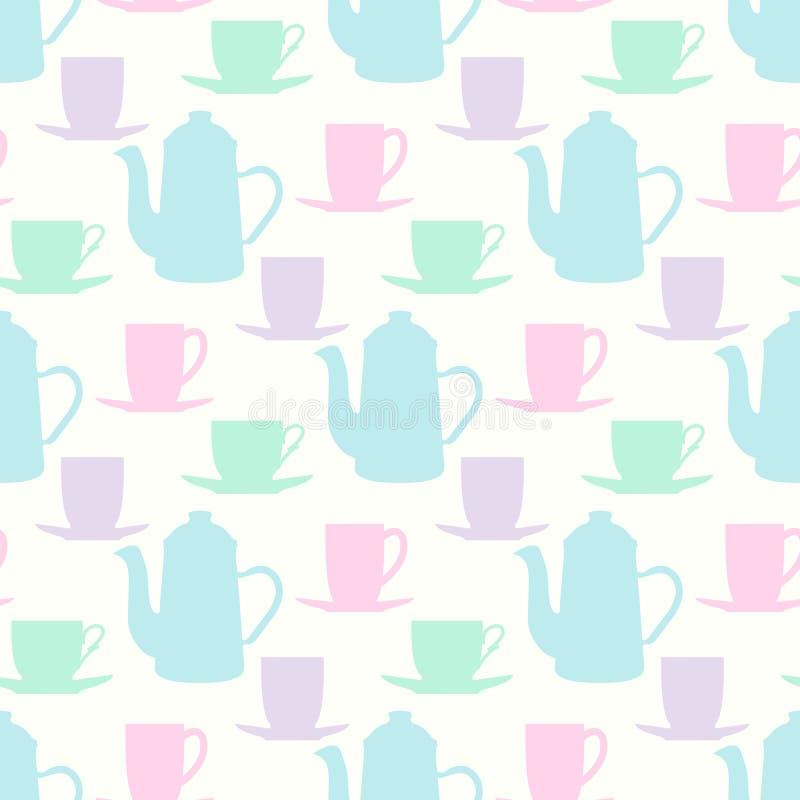 Διανυσματικό σχέδιο με teapots, τις κούπες τσαγιού και τα φλυτζάνια καφέ διανυσματική απεικόνιση