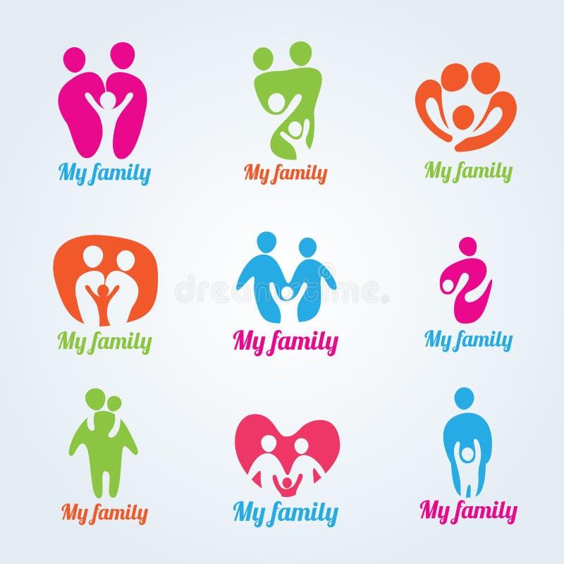 Διανυσματικό σχέδιο λογότυπων οικογενειακών ανθρώπων μου το σύγχρονο απεικόνιση αποθεμάτων