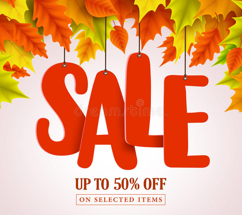 Διανυσματικό σχέδιο πώλησης φθινοπώρου με την κόκκινη ένωση κειμένων πώλησης στα ζωηρόχρωμα φύλλα σφενδάμου διανυσματική απεικόνιση