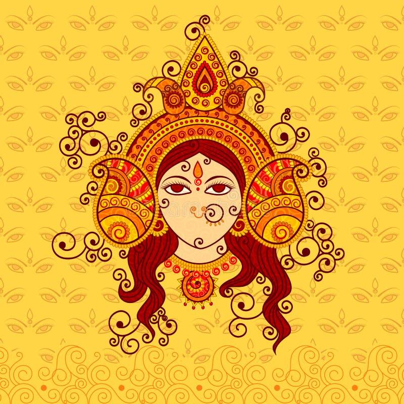Διανυσματικό σχέδιο της θεάς Durga ελεύθερη απεικόνιση δικαιώματος