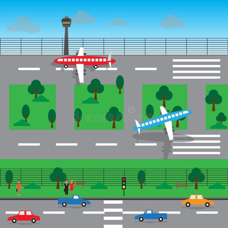 Διανυσματικό σχέδιο τοπίων αερολιμένων στοκ εικόνα με δικαίωμα ελεύθερης χρήσης