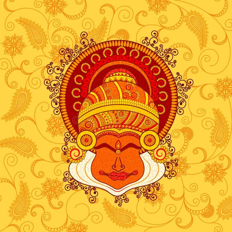 Διανυσματικό σχέδιο του προσώπου του χορευτή kathakali απεικόνιση αποθεμάτων