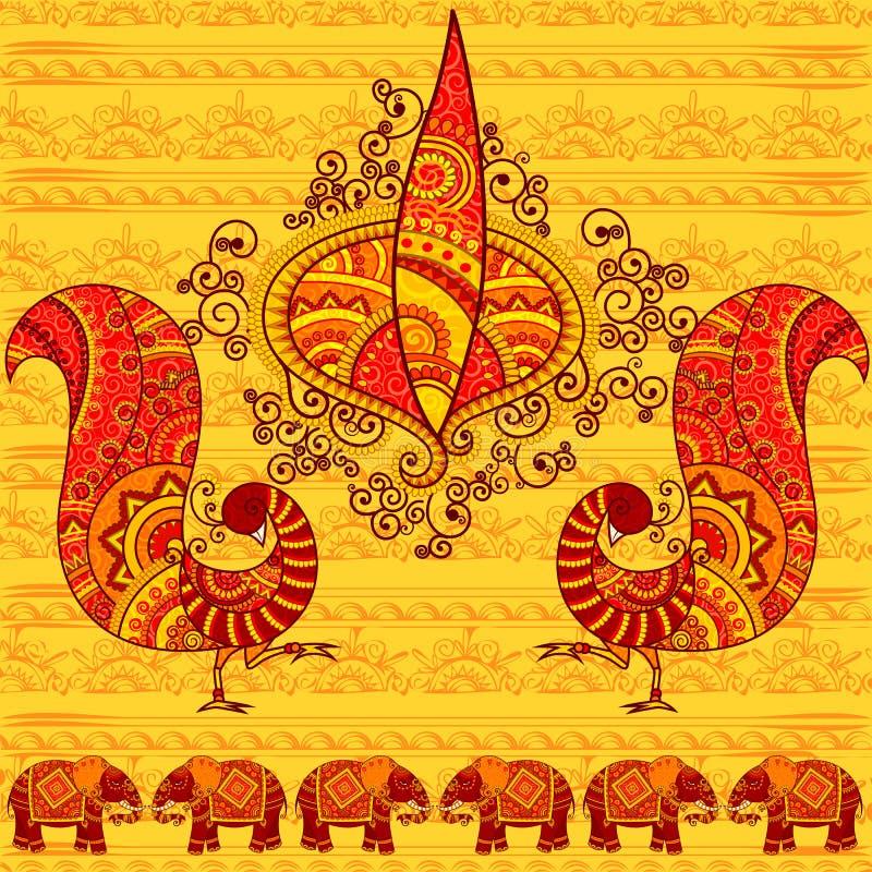 Διανυσματικό σχέδιο του diya Diwali με το peacock διανυσματική απεικόνιση