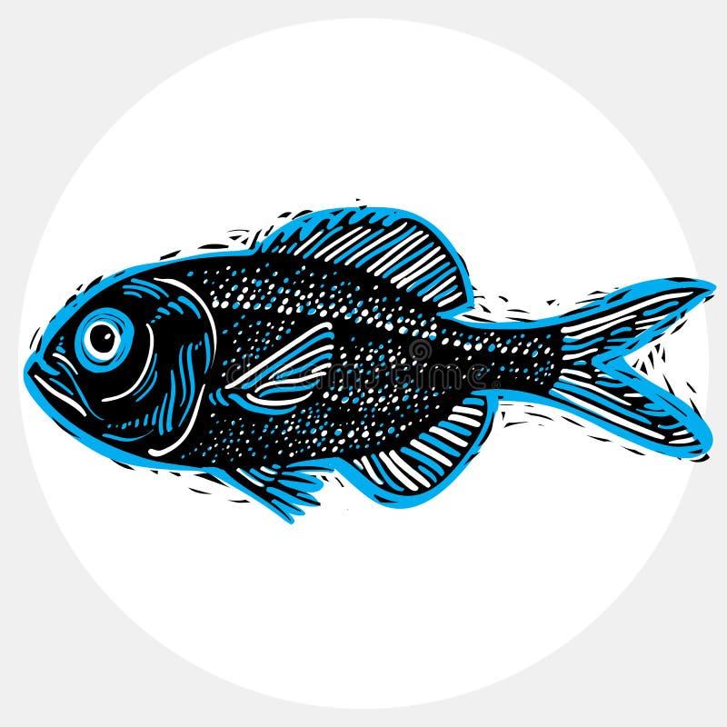 Διανυσματικό σχέδιο των του γλυκού νερού ψαριών με τα πτερύγια, υποβρύχια ζωή άρρωστη απεικόνιση αποθεμάτων