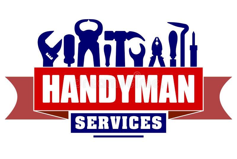 Διανυσματικό σχέδιο υπηρεσιών Handyman για το λογότυπο ή το έμβλημά σας με το κόκκινο διανυσματική απεικόνιση