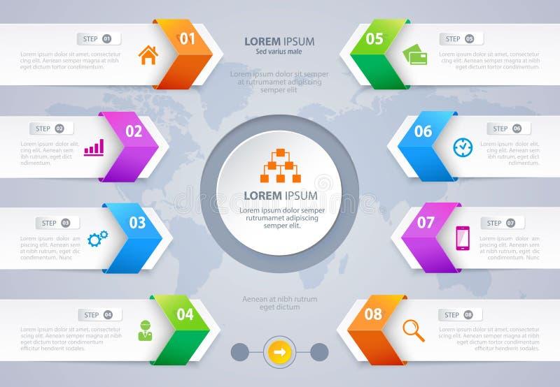 Διανυσματικό σχέδιο Infographic εμβλημάτων βελών επιλογής βημάτων 10 eps διανυσματική απεικόνιση