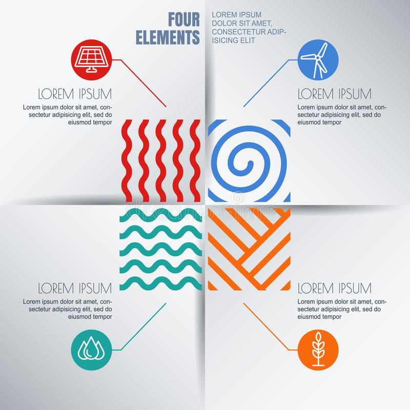 Διανυσματικό σχέδιο infographics Τέσσερα στοιχεία αφαιρούν την απεικόνιση απεικόνιση αποθεμάτων