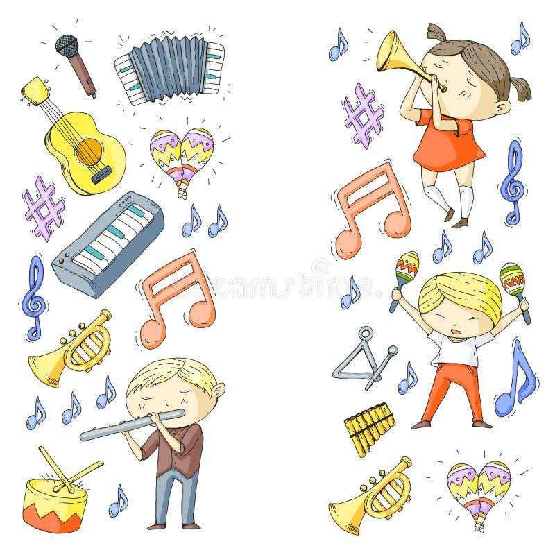Διανυσματικό σχολείο των μουσικών παιδιών παιδικών σταθμών θεάτρων μουσικής με το τύμπανο οργάνων μουσικής, φλάουτο, ακκορντέον,  διανυσματική απεικόνιση