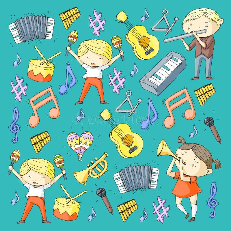 Διανυσματικό σχολείο των μουσικών παιδιών παιδικών σταθμών θεάτρων μουσικής με το τύμπανο οργάνων μουσικής, φλάουτο, ακκορντέον,  απεικόνιση αποθεμάτων