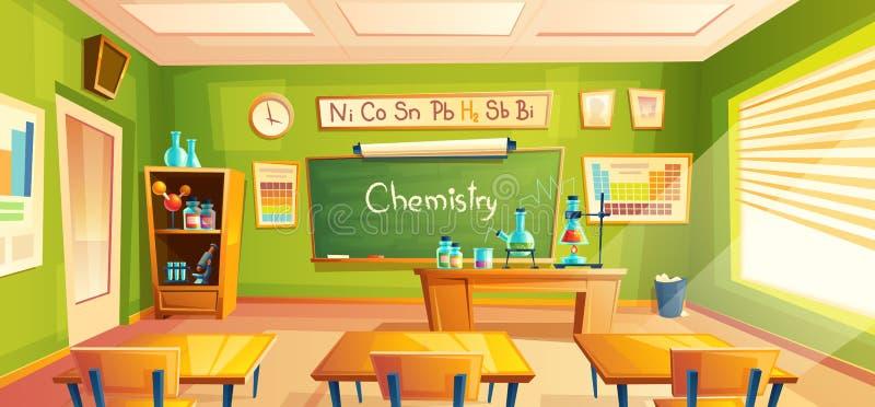 Διανυσματικό σχολικό εργαστήριο, εσωτερικό τάξεων, δωμάτιο χημείας Εκπαιδευτικά χημικά πειράματα, έπιπλα γραφείων απεικόνιση αποθεμάτων