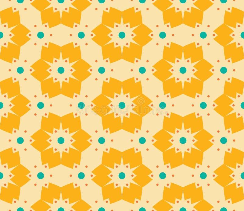 Διανυσματικό σύγχρονο άνευ ραφής ζωηρόχρωμο floral σχέδιο γεωμετρίας, αφηρημένο γεωμετρικό υπόβαθρο χρώματος απεικόνιση αποθεμάτων