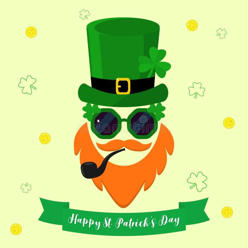 Διανυσματικό σύγχρονο επίπεδο εικονίδιο σχεδίου για την ημέρα του ST Patricks Χαρακτήρας Leprechaun με το πράσινο καπέλο με το τρ ελεύθερη απεικόνιση δικαιώματος