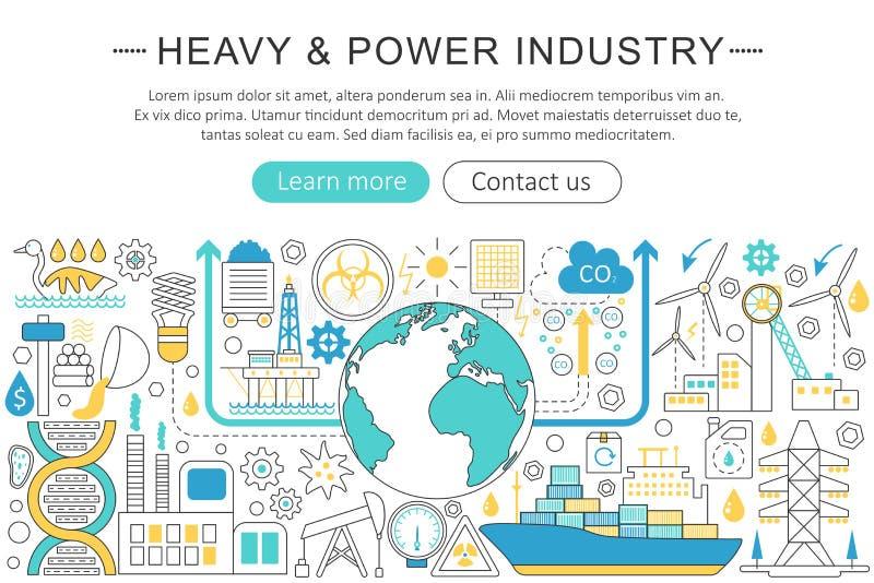 Διανυσματικό σύγχρονο επίπεδο σχέδιο γραμμών βαρύ και έννοια βιομηχανίας δύναμης Βαριά επιγραφή ιστοχώρου εικονιδίων βιομηχανίας  διανυσματική απεικόνιση