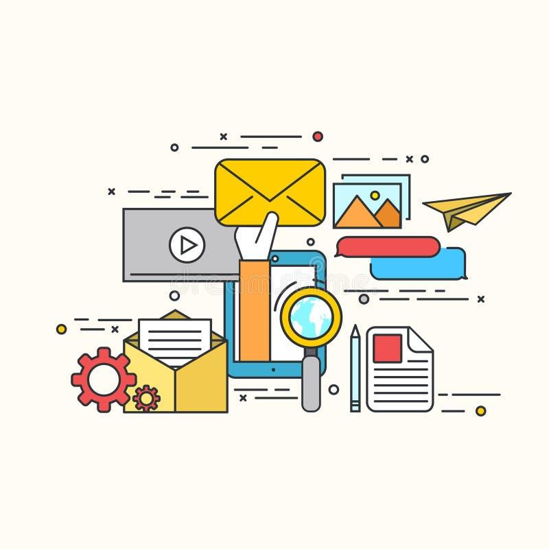 Διανυσματικό σύγχρονο επίπεδο σχέδιο του μάρκετινγκ ηλεκτρονικού ταχυδρομείου διανυσματική απεικόνιση