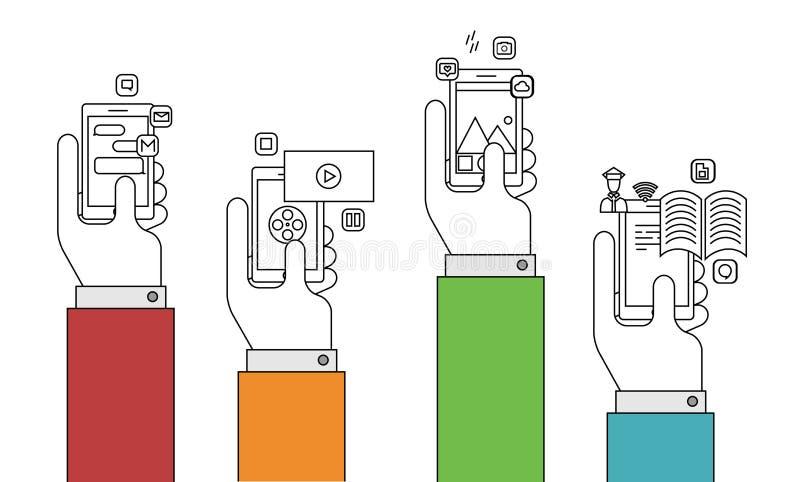 Διανυσματικό σύγχρονο λεπτό επίπεδο σχέδιο γραμμών των κινητών apps απεικόνιση αποθεμάτων