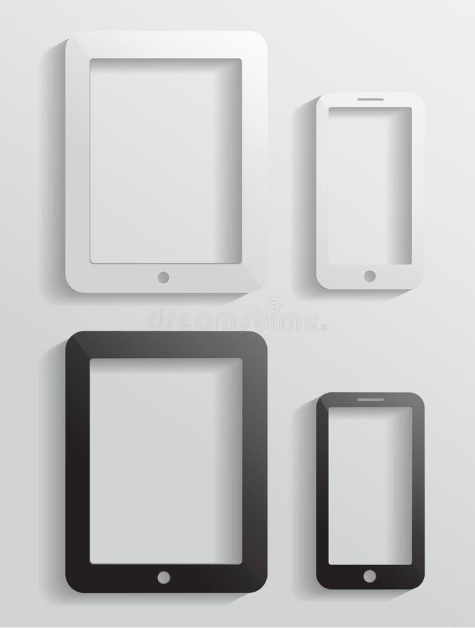 Διανυσματικό σύγχρονο κινητό τηλέφωνο εικονιδίων με τον υπολογιστή ταμπλετών απεικόνιση αποθεμάτων