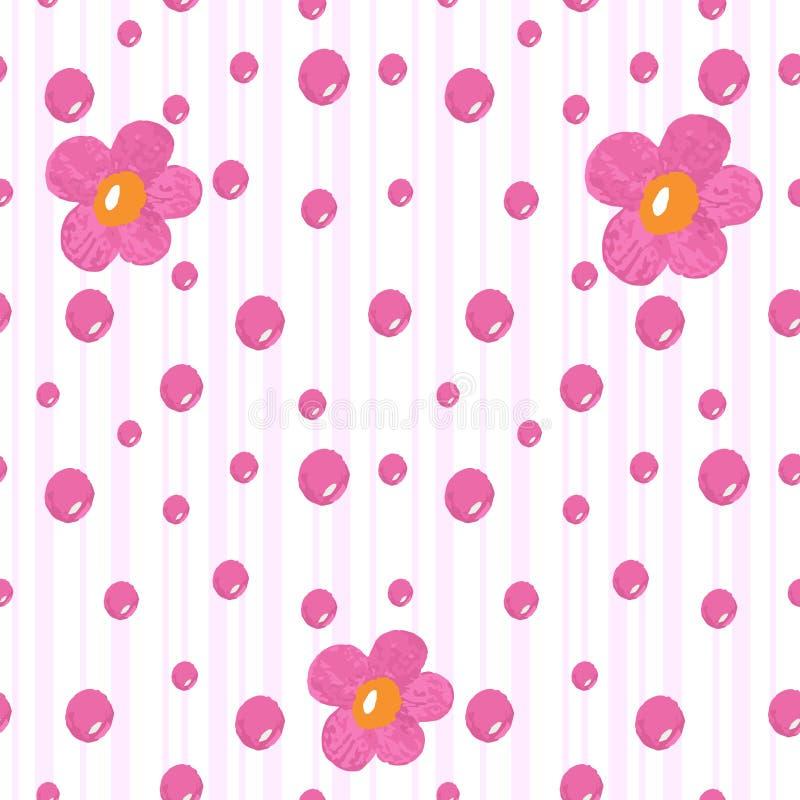 Διανυσματικό σύγχρονο μαλακό χρωματισμένο άνευ ραφής σχέδιο παιδιών με το λουλούδι και τον κύκλο ελεύθερη απεικόνιση δικαιώματος