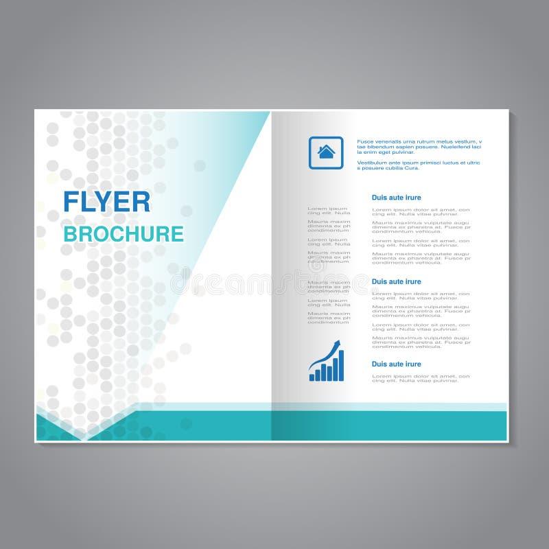 Διανυσματικό σύγχρονο φυλλάδιο, αφηρημένο ιπτάμενο με το απλό διαστιγμένο σχέδιο Λόγος διάστασης για A4 το μέγεθος Αφίσα του μπλε διανυσματική απεικόνιση