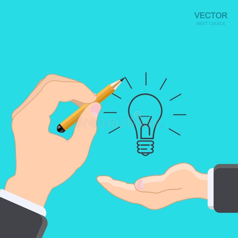 Διανυσματικό σύγχρονο χέρι με το μολύβι απεικόνιση αποθεμάτων