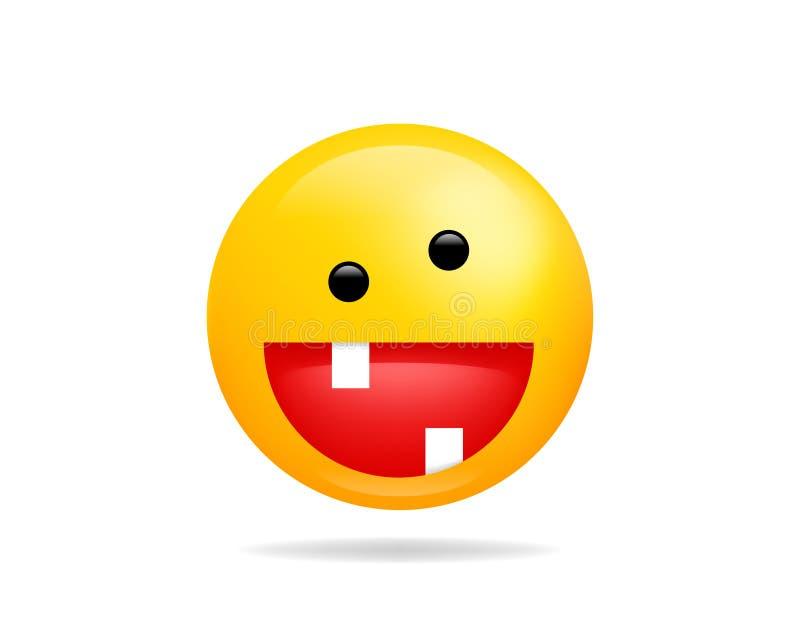 Διανυσματικό σύμβολο εικονιδίων χαμόγελου Emoji Τρελλός κίτρινος χαρακτήρας κινουμένων σχεδίων προσώπου Smiley ελεύθερη απεικόνιση δικαιώματος