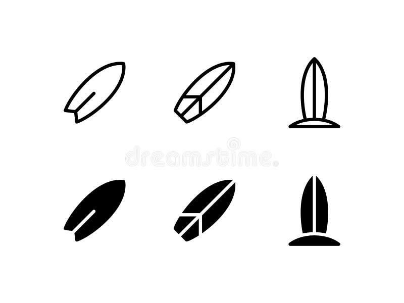 Διανυσματικό σύμβολο λογότυπων εικονιδίων ιστιοσανίδων που απομονώνεται στο άσπρο υπόβαθρο διανυσματική απεικόνιση