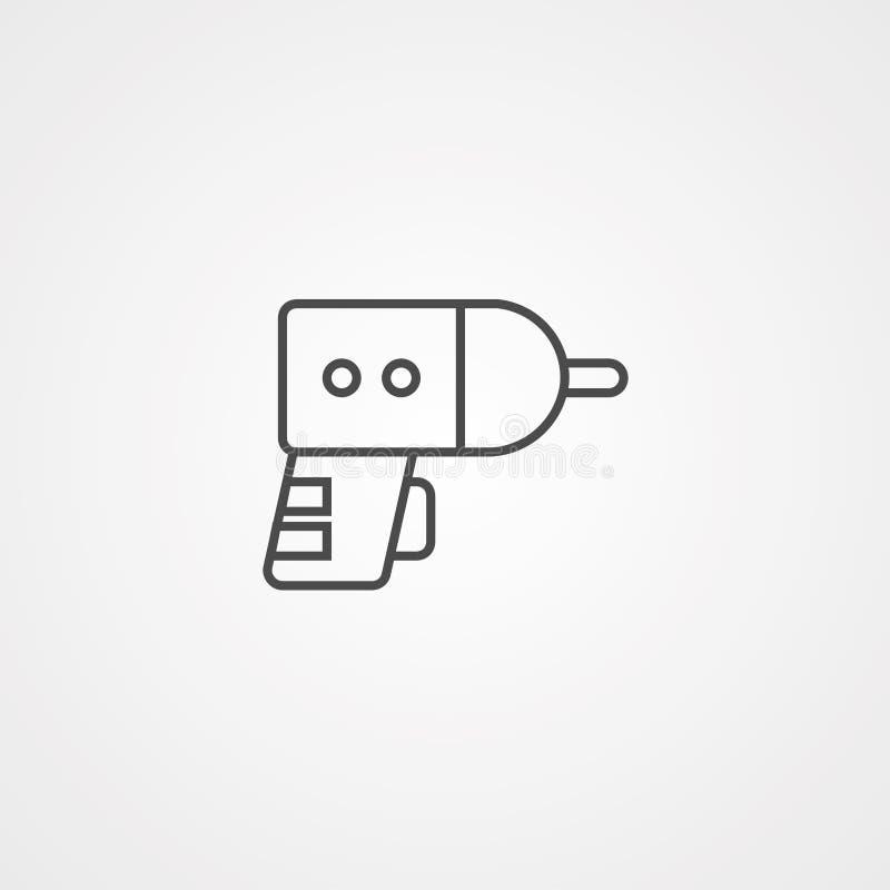 Διανυσματικό σύμβολο σημαδιών εικονιδίων τρυπανιών διανυσματική απεικόνιση