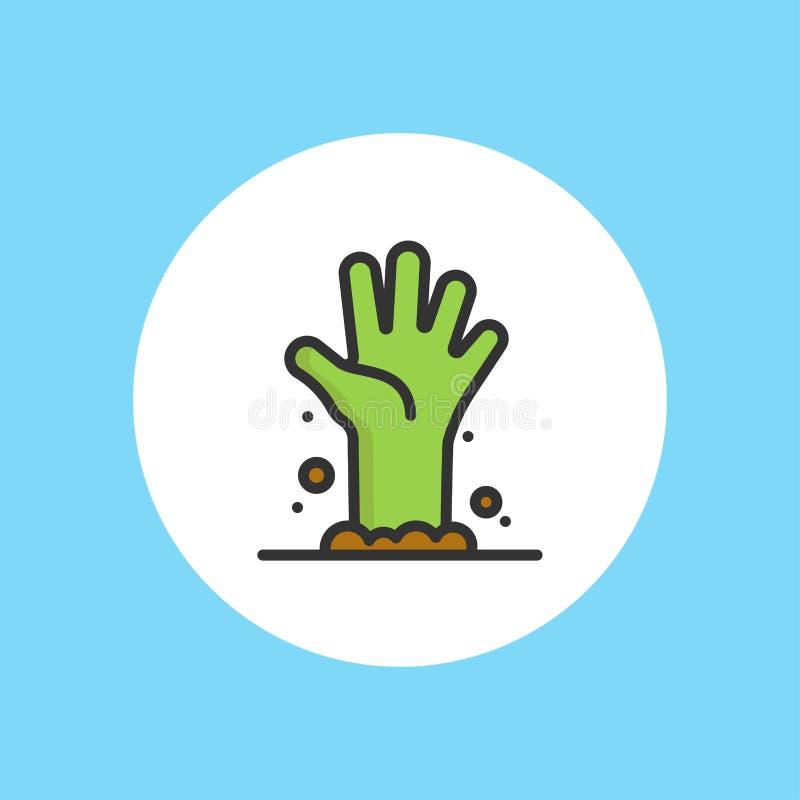 Διανυσματικό σύμβολο σημαδιών εικονιδίων χεριών Zombie απεικόνιση αποθεμάτων
