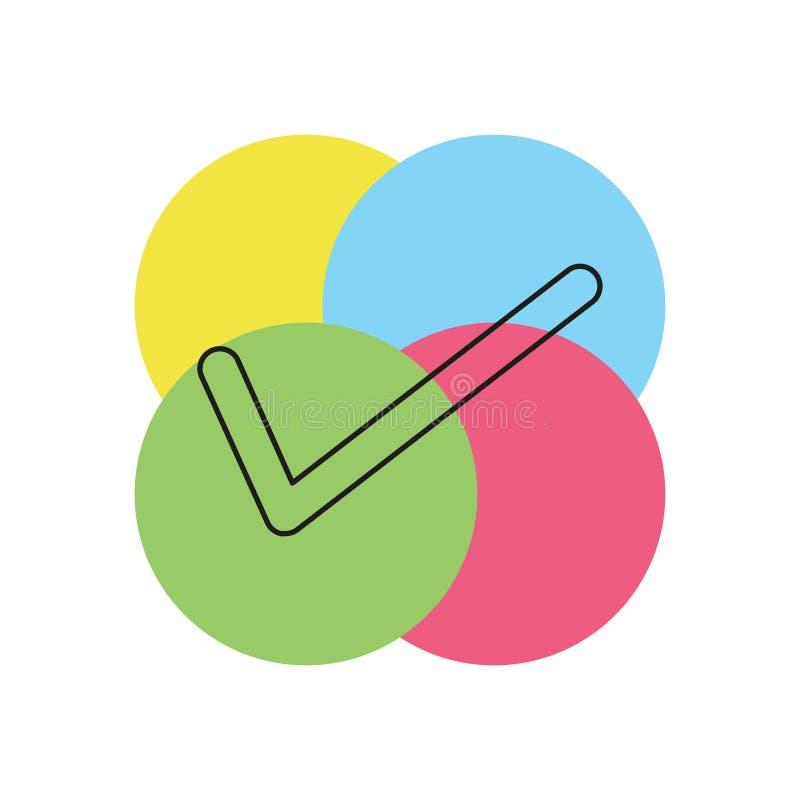 Διανυσματικό σύμβολο σημαδιών ελέγχου - ναι ή εντάξει - εγκεκριμένο απεικόνιση αποθεμάτων