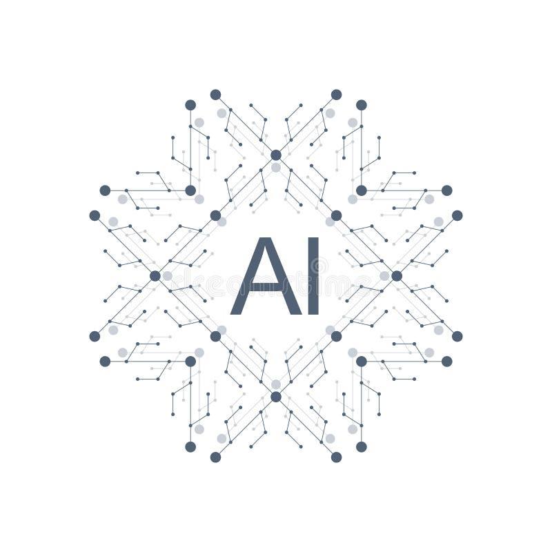 Διανυσματικό σύμβολο AI εικονιδίων λογότυπων τεχνητής νοημοσύνης Βαθιά να μάθει και μελλοντικό σχέδιο έννοιας τεχνολογίας διανυσματική απεικόνιση