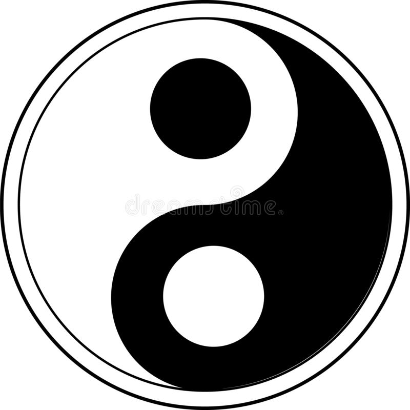 Διανυσματικό σύμβολο Ying yang της αρμονίας και της ισορροπίας απεικόνιση αποθεμάτων