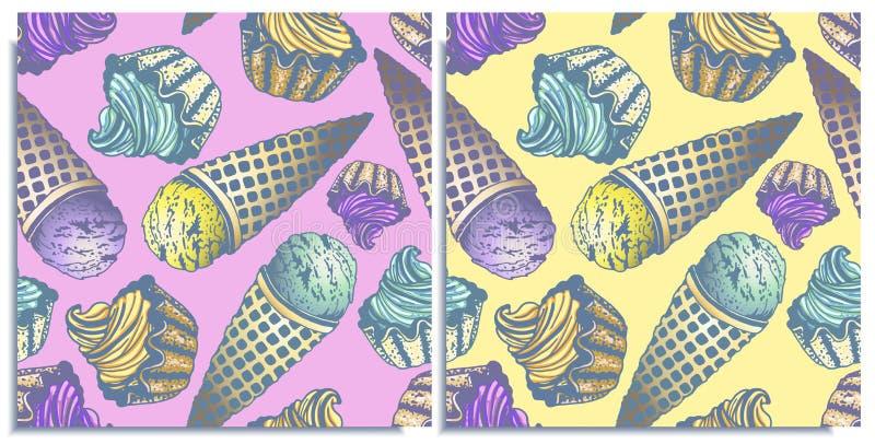 Διανυσματικό σύνολο άνευ ραφής σχεδίων με το θαυμάσια ζωηρόχρωμα cupcake και το παγωτό, γεύση του λεμονιού, μέντα, βακκίνιο Hand- διανυσματική απεικόνιση