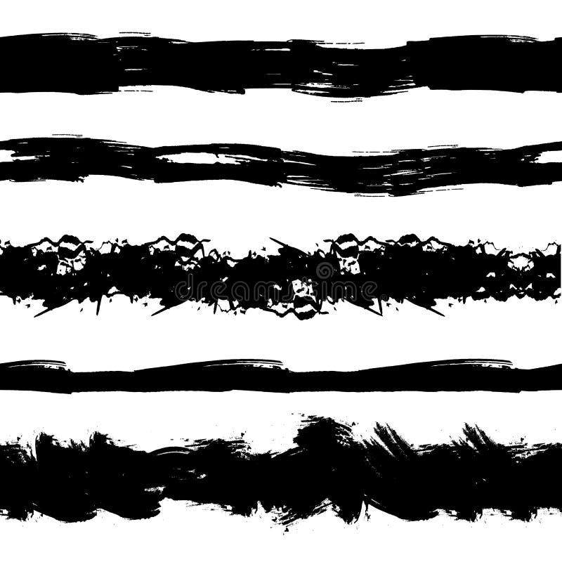Διανυσματικό σύνολο άνευ ραφής Stipes Grunge, κτυπήματα βουρτσών, μαύρο μελάνι Splatters απεικόνιση αποθεμάτων