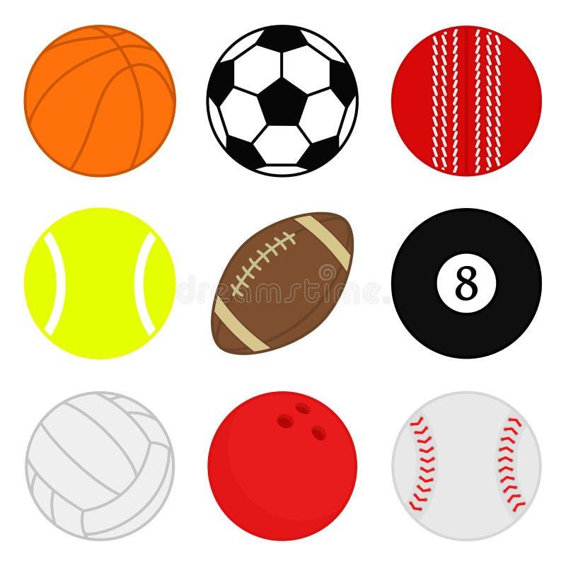 Διανυσματικό σύνολο αθλητικών σφαιρών Εικονίδια σφαιρών κινούμενων σχεδίων Συλλογή των ζωηρόχρωμων σφαιρών Επίπεδο ύφος διανυσματική απεικόνιση