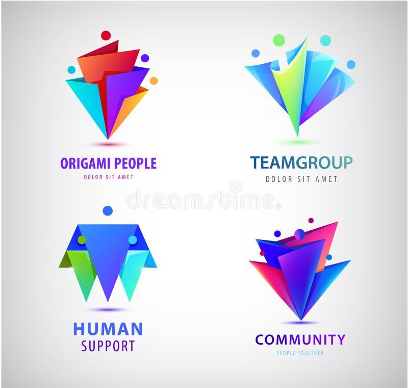 Διανυσματικό σύνολο ανθρώπινων λογότυπων ομάδων ατόμων Family, business teamwork, friendship concept 3δ οριγκάμη διανυσματική απεικόνιση