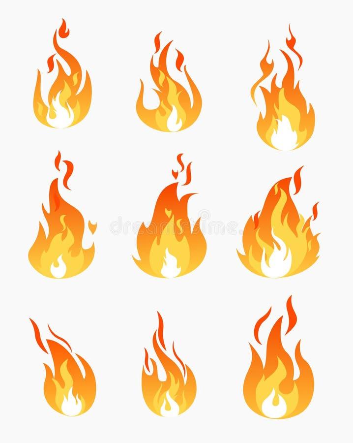 Διανυσματικό σύνολο απεικόνισης εικονιδίων φλογών πυρκαγιάς στο άσπρο υπόβαθρο Φλόγα στη διαφορετική συλλογή μορφών στο επίπεδο ύ απεικόνιση αποθεμάτων