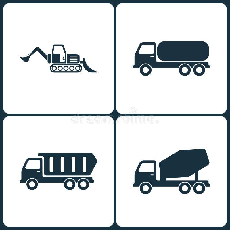 Διανυσματικό σύνολο απεικόνισης εικονιδίων φορτηγών και μεταφορών Στοιχεία του φορτωτή, της χημικής μεταφοράς φορτηγών, του φορτη απεικόνιση αποθεμάτων
