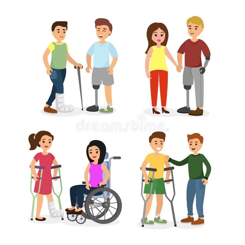 Διανυσματικό σύνολο απεικόνισης με ειδικές ανάγκες ατόμων με τους φίλους που βοηθούν τους στις διαφορετικές καταστάσεις, ευτυχείς απεικόνιση αποθεμάτων