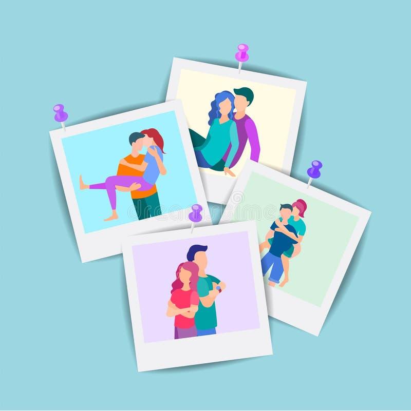 Διανυσματικό σύνολο απεικόνισης οικογενειακών φωτογραφιών διανυσματική απεικόνιση