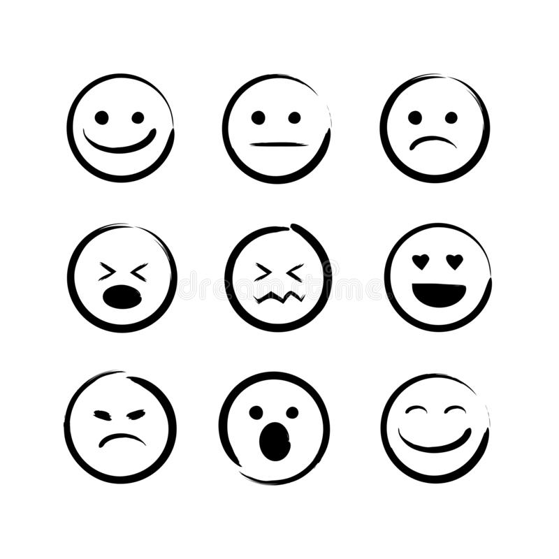 Διανυσματικό σύνολο απεικόνισης συρμένων χέρι προσώπων emojis Doodle emoticons, εικονίδιο βουρτσών μελανιού σε ένα άσπρο υπόβαθρο ελεύθερη απεικόνιση δικαιώματος
