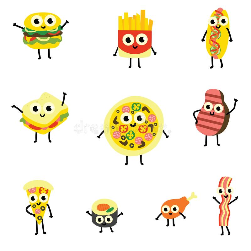 Διανυσματικό σύνολο απεικόνισης χαρακτηρών κινουμένων σχεδίων τροφίμων στο επίπεδο ύφος διανυσματική απεικόνιση