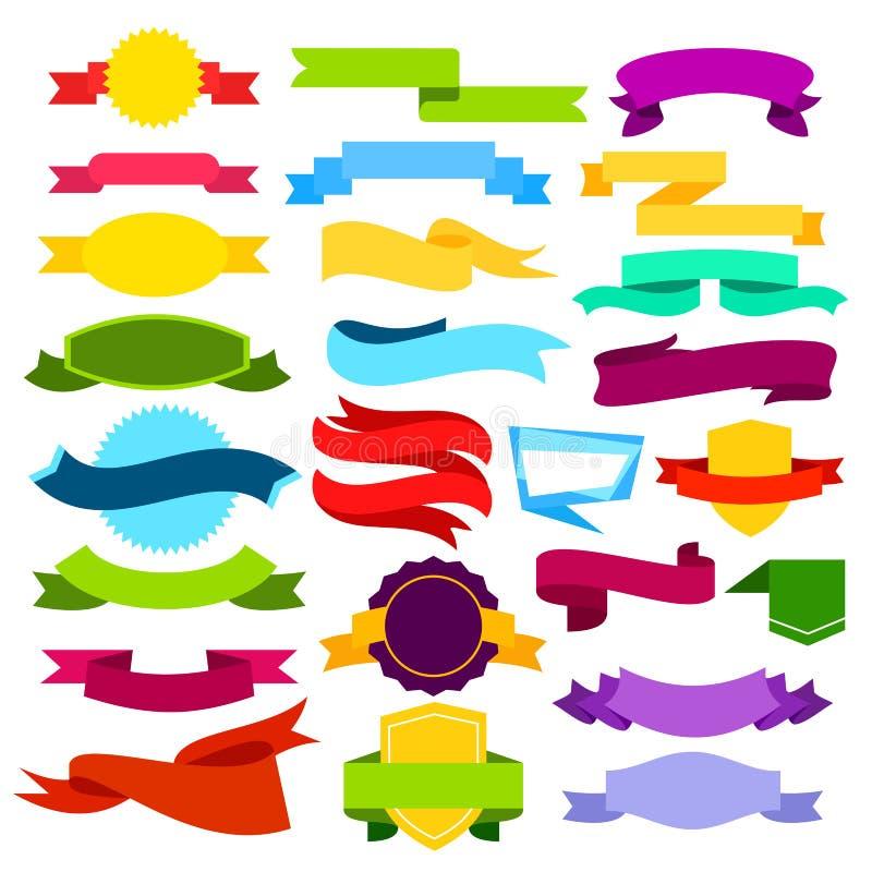 Διανυσματικό σύνολο απεικόνισης χρωματισμένων εμβλημάτων κορδελλών Μπλε, πράσινοι, κόκκινοι, κίτρινοι, ρόδινοι κύλινδροι στο επίπ διανυσματική απεικόνιση
