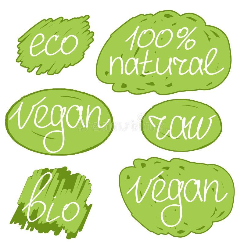 Διανυσματικό σύνολο απεικόνισης colorfull ημέρας Vegan διανυσματική απεικόνιση