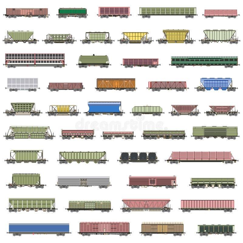 Διανυσματικό σύνολο απομονωμένων τραίνων σιδηροδρόμων, αυτοκινητάμαξες, βαγόνια εμπορευμάτων, φορτηγά ελεύθερη απεικόνιση δικαιώματος