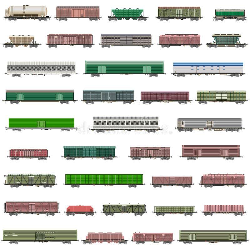 Διανυσματικό σύνολο απομονωμένων τραίνων σιδηροδρόμων, αυτοκινητάμαξες, βαγόνια εμπορευμάτων, φορτηγά απεικόνιση αποθεμάτων