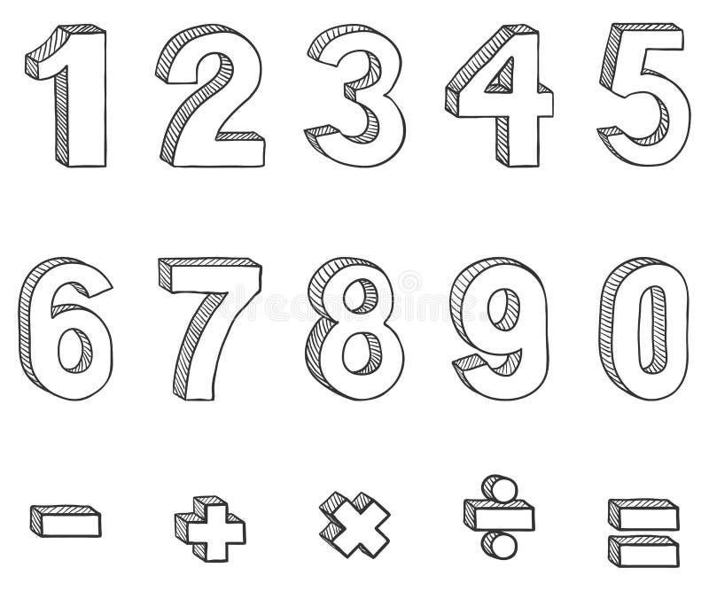 Διανυσματικό σύνολο αριθμών σκίτσων και μαθηματικών σημαδιών διανυσματική απεικόνιση