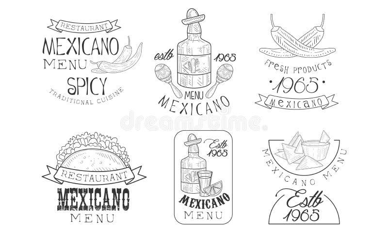Διανυσματικό σύνολο αρχικών μεξικάνικων προτύπων λογότυπων Μονοχρωματικά εμβλήματα με τα μπουκάλια tequila, πιπέρια τσίλι και παρ απεικόνιση αποθεμάτων